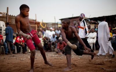 oung Dambe boxers during a match.