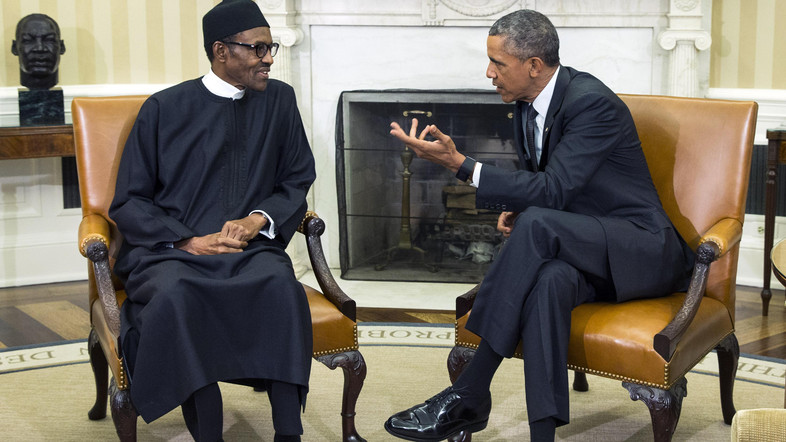"FILE- In this Monday, July 20, 2015 file photo, President Barack Obama, right, meets with Nigerian President Muhammadu Buhari, in the Oval Office of the White House, in Washington.  Bomb blasts at two bustling bus stations killed 29 people and wounded 105, officials said Thursday, July 23, 2015, after Nigeria's new president warned that the U.S. refusal to sell his country strategic weapons is ""aiding and abetting"" Boko Haram. (AP Photo/Evan Vucci file)"