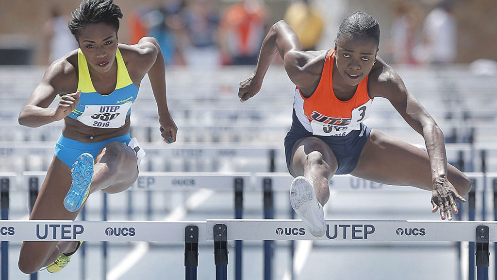 Oluwatoloba Amusan (right) ran a new 12.57 seconds lifetime best to win her first National Collegiate of Athletics Association (NCAA) Championships title in the 100m hurdles at the historic Hayward Stadium in Oregon, USA earlier this year
