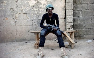 A member of the local militia group, otherwise known as CJTF, Adamu Mohammed, 23, poses for a portrait photograph in a compound in the city of Maiduguri, northern Nigeria June 5, 2017. REUTERS/Akintunde Akinleye